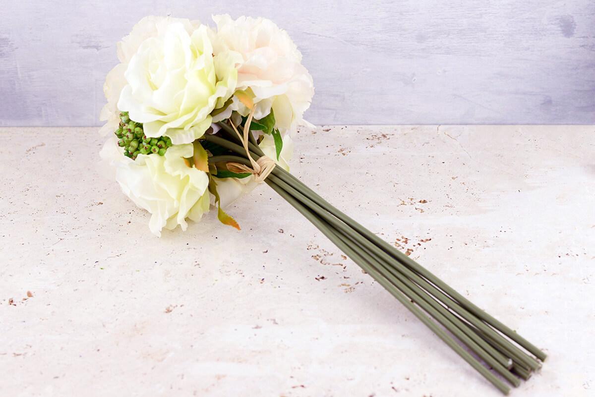 Blush & White Peonies, Sedum, Silk Peony & Rose Bouquet, Artificial ...