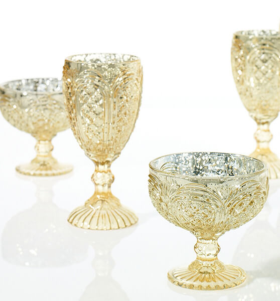 "Kingston Mercury Glass Compote 4.25""x 4.5"" Gold"