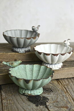 Set of Three Pewter Bird Bowls