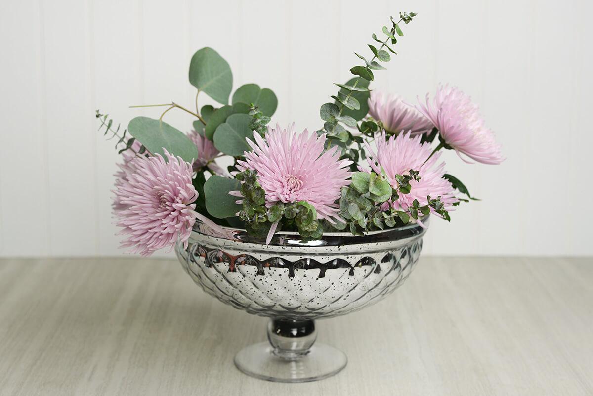"Silver Mercury Glass 12""  Pedestal Bowl 12x7.5in"