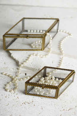 2 Glass and Brass Jewelry Boxes