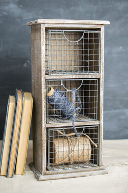 Tabletop Storage  with 3 Wire Baskets 14""