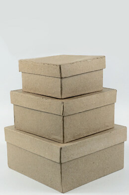 Paper Mache Square Boxes (Set of 3)