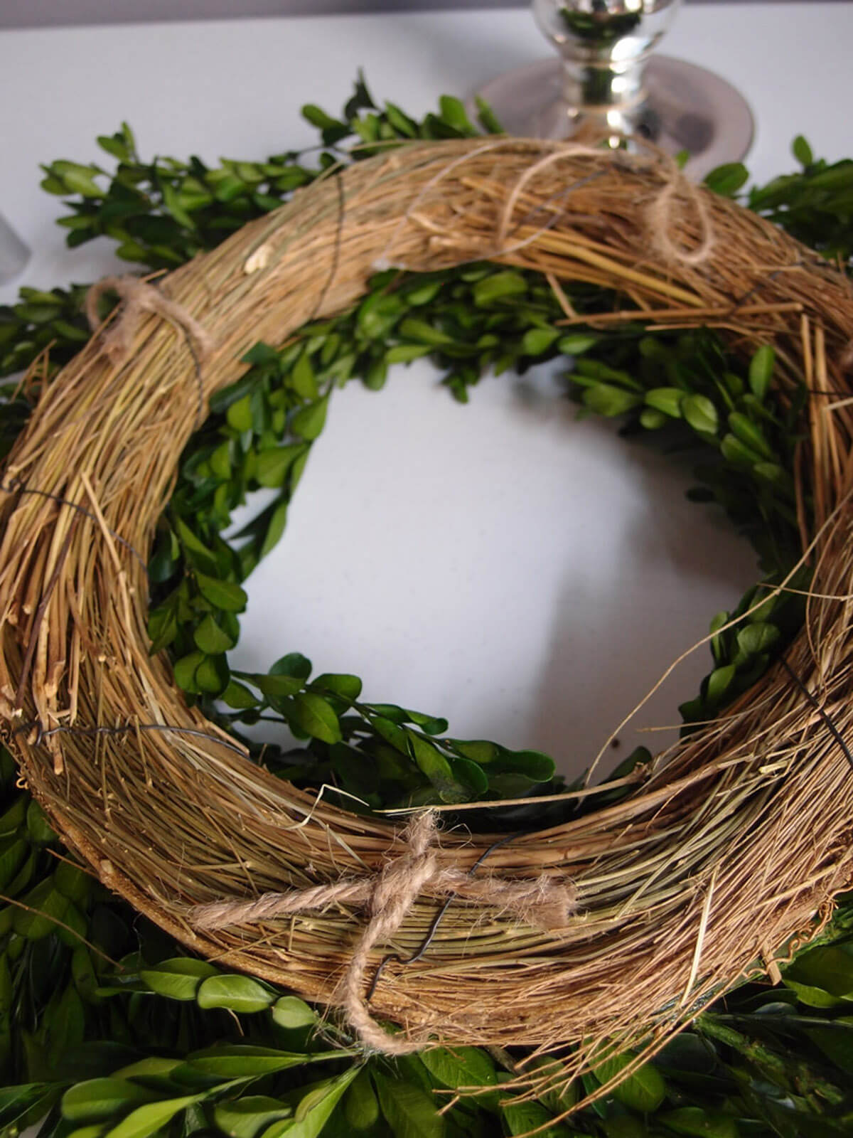 Natural Preserved Round Boxwood Wreath 16in