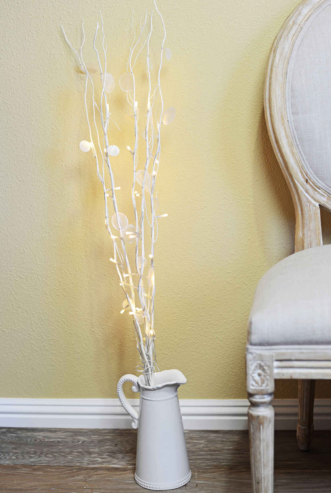 "5 Natural White Willow with Shell Accents  LED Lighted Branches, 39"" Battery Operated"