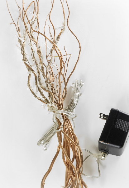"""Gold Curly Willow LED Branches 20"""" - 10 Natural Branches"""