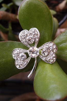 Small Crystal Clover Pin, Boutonniere Pins