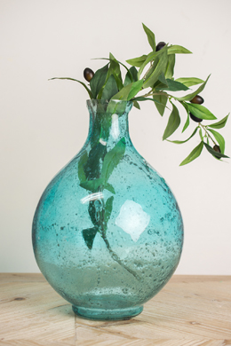 Vintage Aqua Bubble Glass Vase  11 Inch