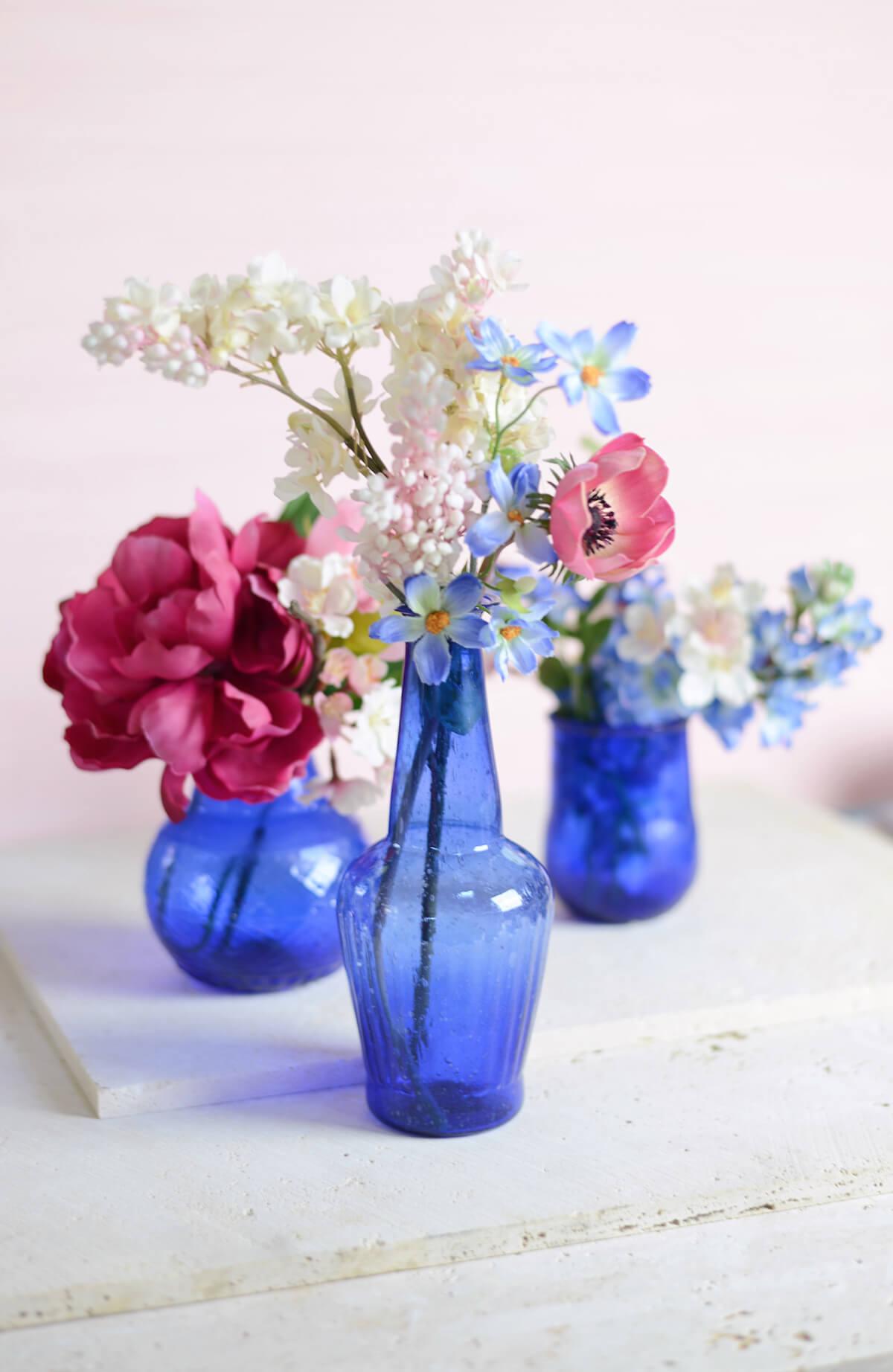 """Cobalt Blue Glass Vase 7.25"""""""