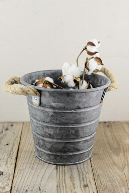 Galvanized Bucket with Rope Handles 8x7in