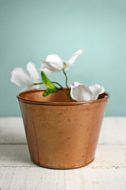 "Tiny 4"" Pink Copper Bucket Vase"