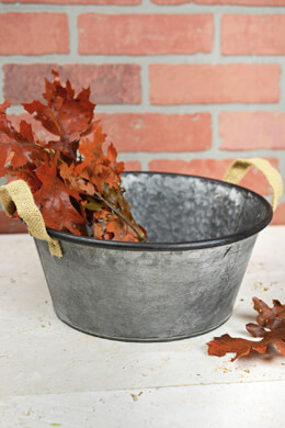 "10"" Galvanized Bucket with Burlap Handles"