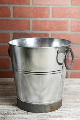 "9"" Galvanized  Bucket with Ring Handles"