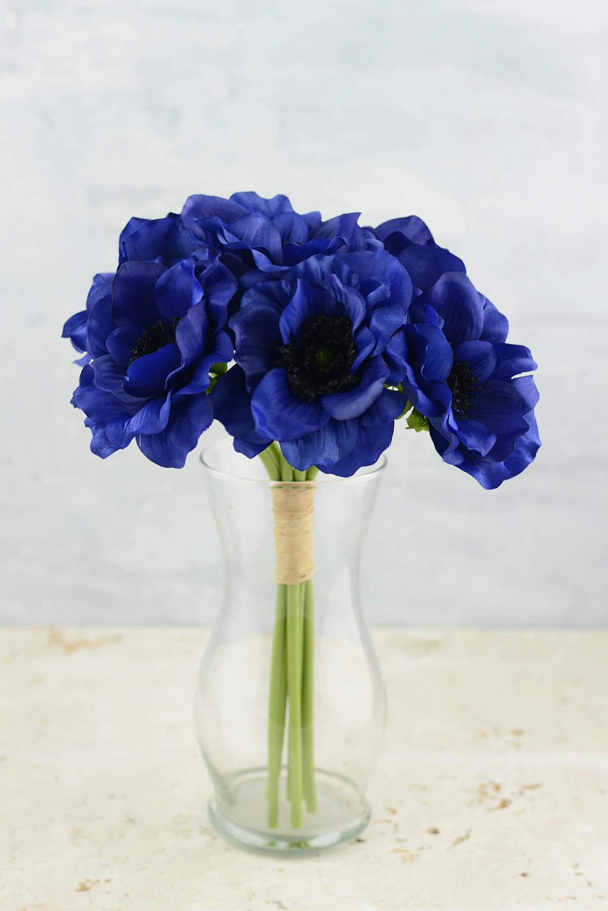 anemone faux flower bundle in navy blue