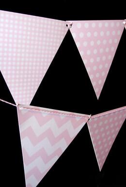 Pink Patterned Pennant Banner 11 Ft
