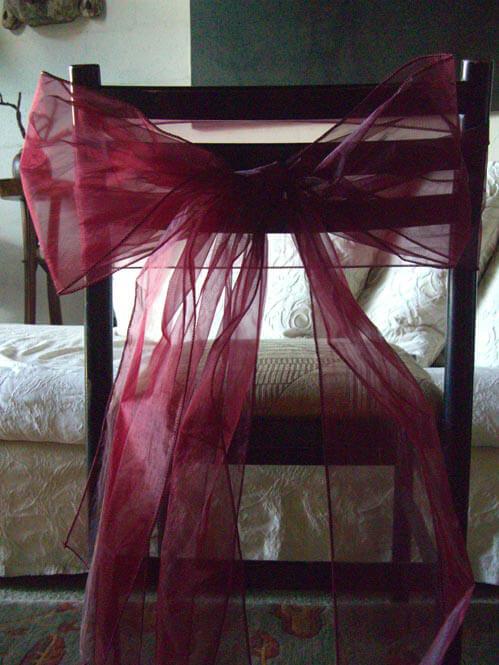 10 Organza Chair Sashes  in Burgundy Merlot