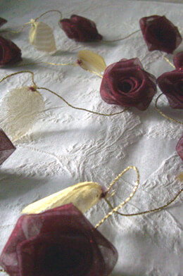 Burgundy Organza Rolled Ribbon Rose Garland 9ft w/ Gold Leaves