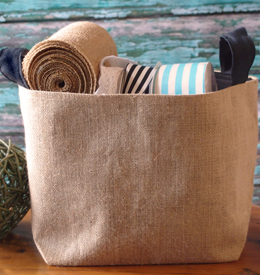 6 Burlap Storage Bags 9x6 Black Cotton Lining