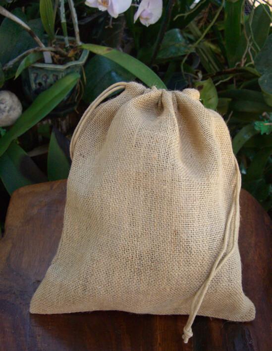 12 Drawstring Burlap Bags 10x12