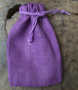 12 Purple Drawstring Burlap Bags 5x7