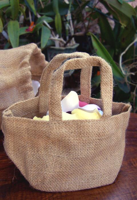Tiny Burlap Flower Girl Basket 8x4