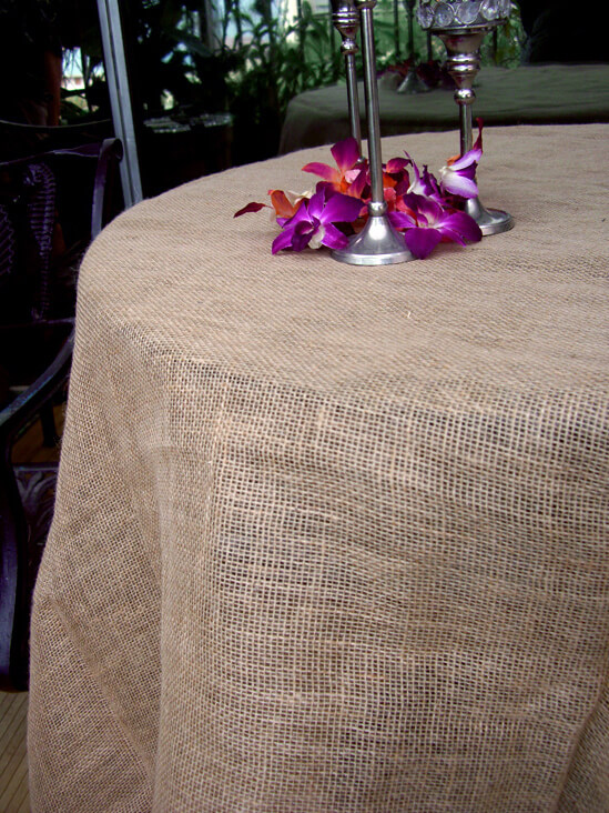 Lovely Square Burlap Table Cloth Hemmed 80 X 80