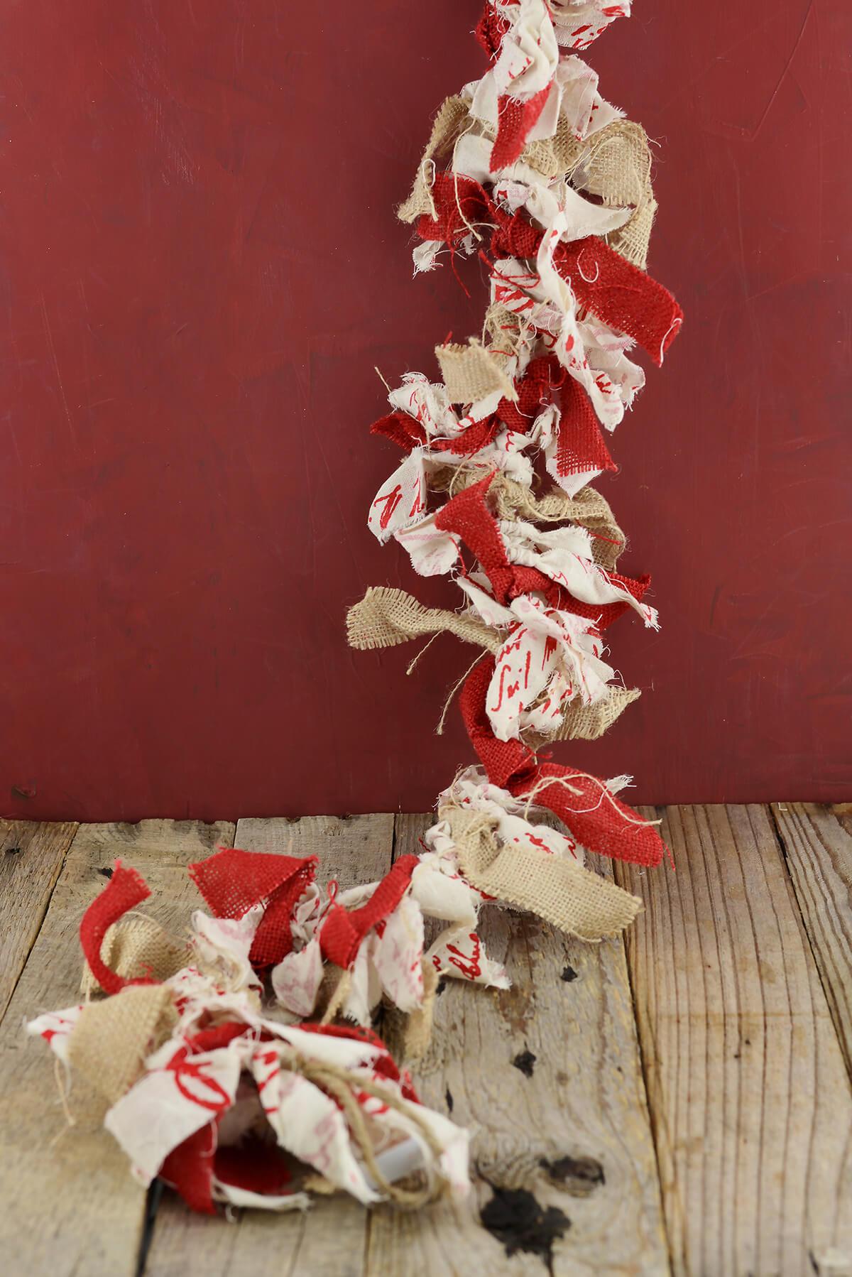 Burlap rag tie garland 4ft for Save on crafts burlap
