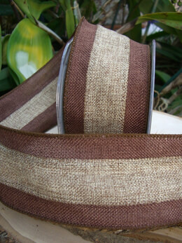 Burlap Ribbon Two Tone Brown & Natural 3in x 10 yds