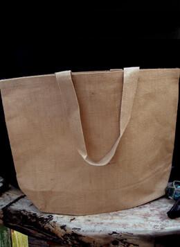 "Large 24"" Burlap Tote Bag, Cotton Lining"