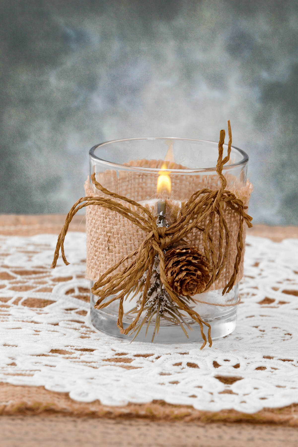 Burlap Wrapped Votive Holders With Pine Sprig 3in Set Of 6