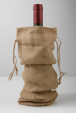 Burlap Wine Bags Drawstring (Pack of 5)