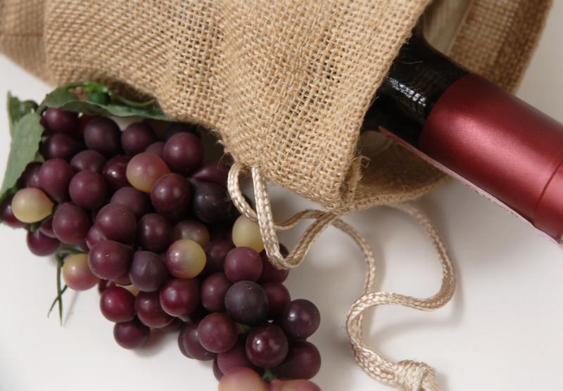 Burlap Wine Bags Drawstring (Pack of 5)