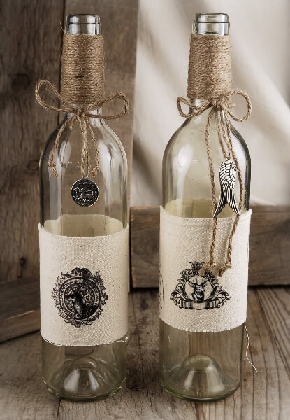 Burlap wrapped bottles for Empty bottle decoration ideas