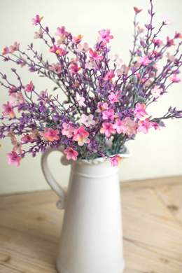 Artificial Star Flower Bush 19in Pink & Lavender