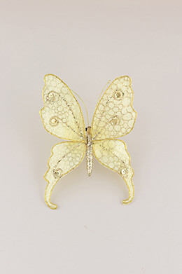 6 Gold Sequin Butterfly Clips  5.5""