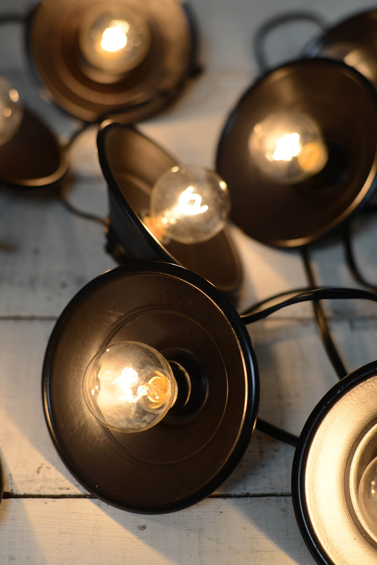 String Lights With Metal Shades : Cafe String Lights Black Metal Lamp Shades 10ct, End to End, UL Listed