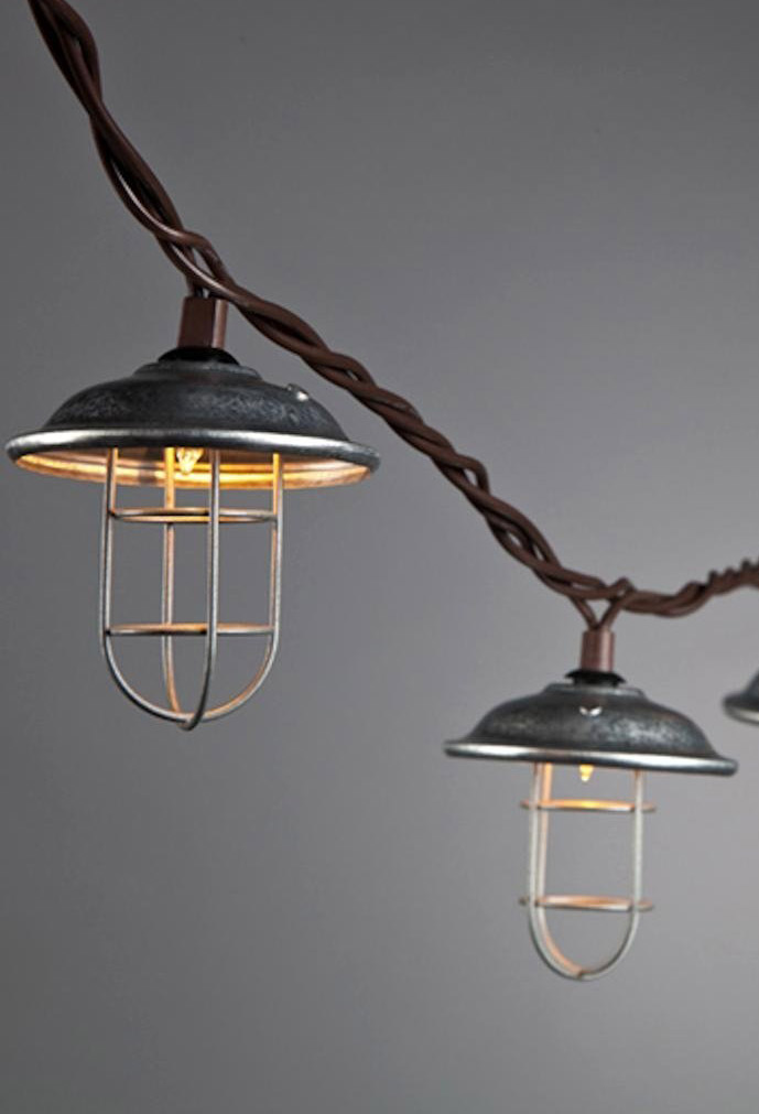 & Metal and Wire Cage Patio Light String
