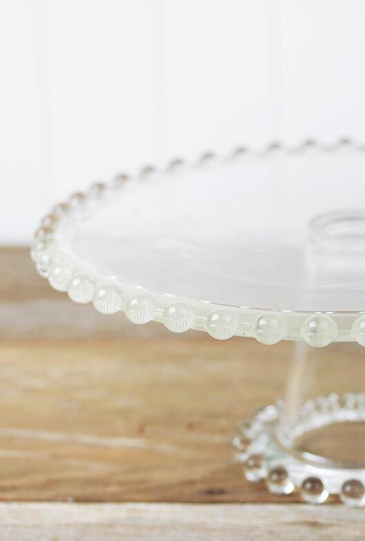 "Beaded Edge Glass Cake Stand Pedestal 11"""