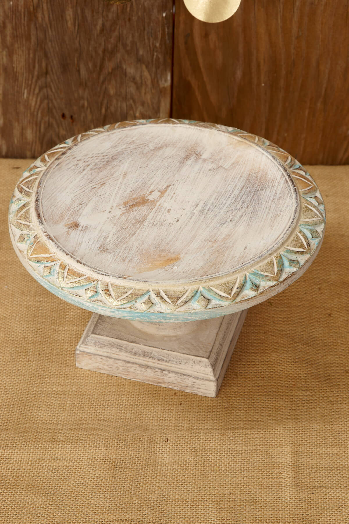 Wood Shabby Chic Cake Stand 10in