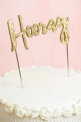 Gold Hooray Cake Topper