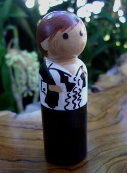 Wedding Cake Toppers Groom Brown/ Red Hair & Black Tux