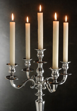 "24"" Tall Silver Candelabra 5 Candle"