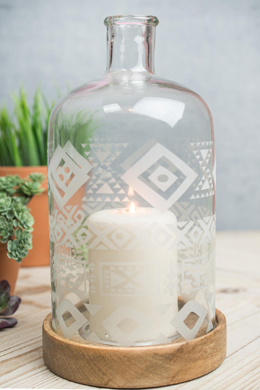 Etched Glass Bottle Cloche-Style Pillar Candle Holder