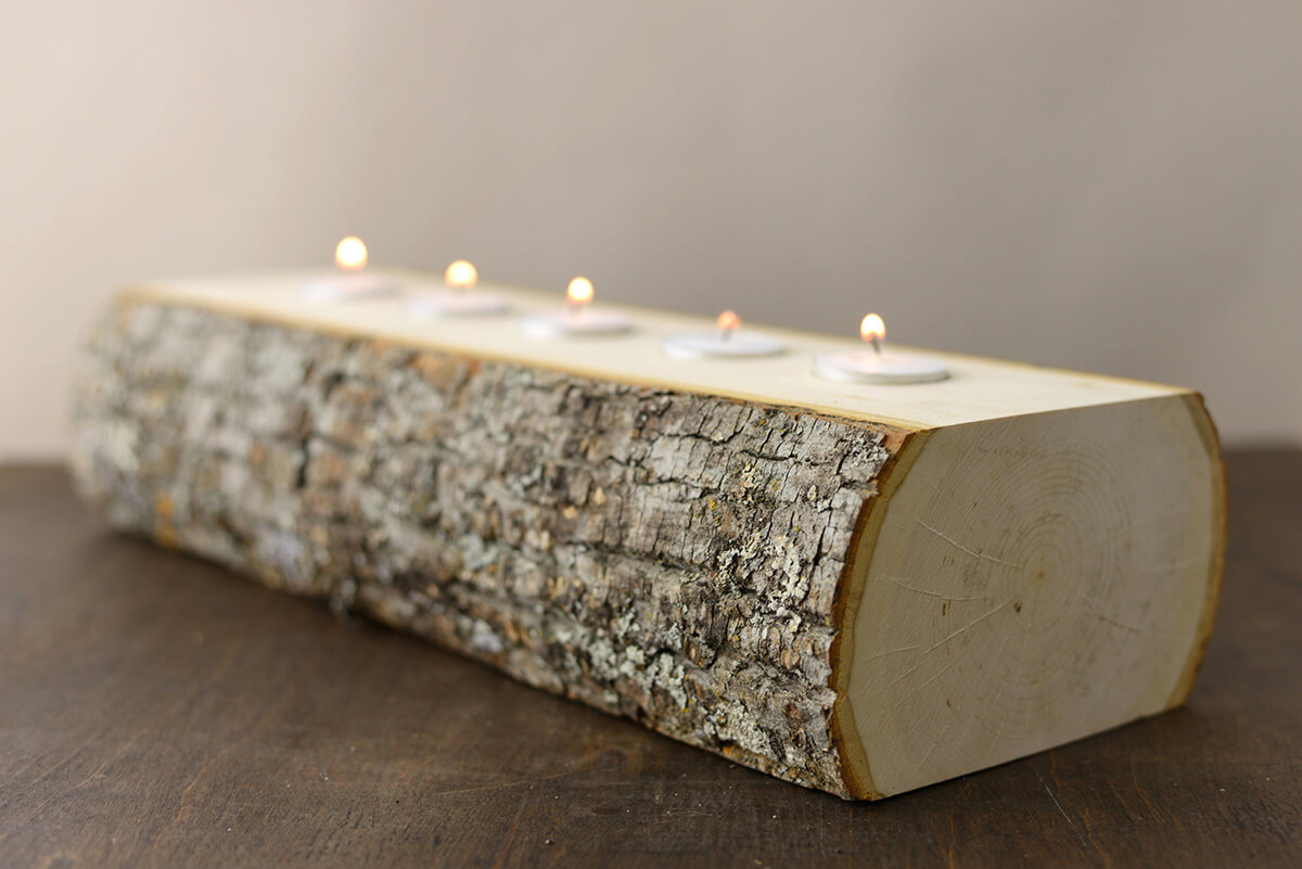Candle Holder Log 5 Tealights