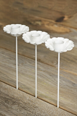 6 White Flower Candle Holder Picks 8in