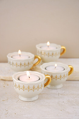 4 Tea Cup Candle Holders & Candles