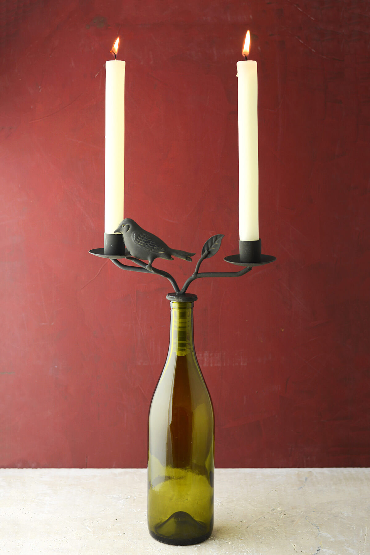 Two taper iron wine bottle candelabra for How to make candle holders out of wine bottles