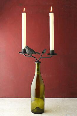 Two-taper Iron Wine Bottle Candelabra