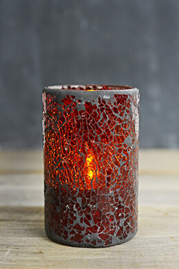 Red Crackled Glass Battery Operated Flameless Candle