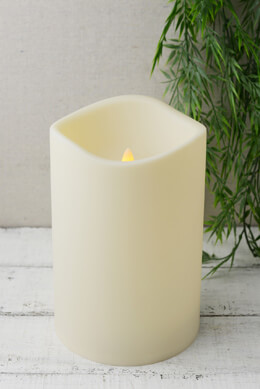 Battery Operated 6x9 Pillar Candle LED, Outdoor,  Wavy Edge